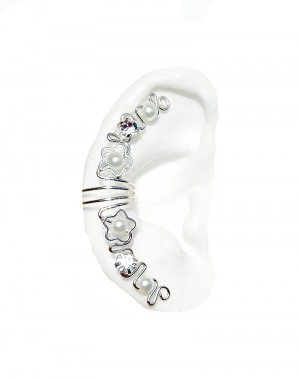 White Flower - Ear Cuff Wrap with Pearls and Rhinestones
