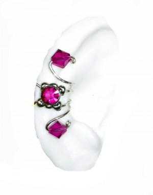 Alexa - Hot Pink Crystals Ear Cuff