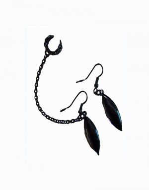 Raven - Black Earrings Chained to Ear Cuff