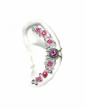 Maya - Silver Ear Cuff Wrap Jewelry with Pink Center Jewel