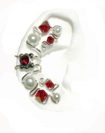 Ruby Red - Pierceless Ear Cuff Wrap with Center Jewel