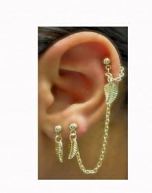 Sunny - Chained Gold Plated Double Piercings Earrings