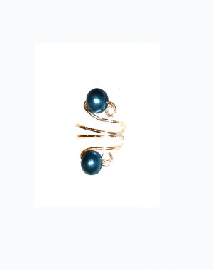 Teal Drop - Gold or Silver Wire - Teal Pearl Ear Cuff