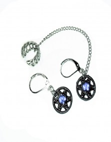 Zoe -Ear Cuff / Earrings with Blue Rhinestones
