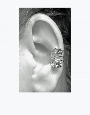 Sparkle- Gold or Silver Ear Cuff with Rhinestones