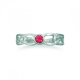 Celtic Design Toe Ring Pink Crystal