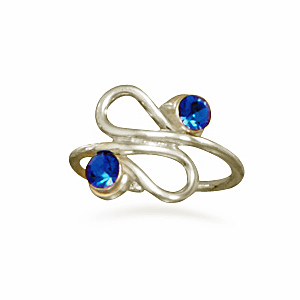 Curvy Design Toe Ring Blue Crystals