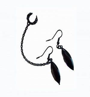 Raven - Black Earrings Chained to Ear Cuff