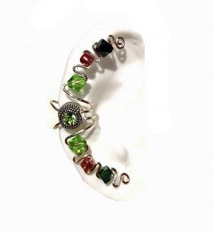 Emerald - Pierceless Ear Cuff Wrap with Center Jewel