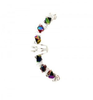 Iris - Ear Cuff Wrap with Multicolor Glass Beads