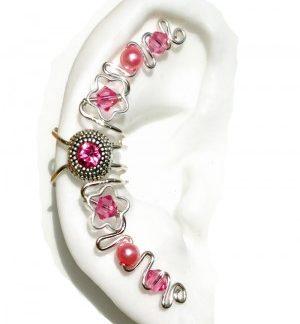 Maya - Silver Ear Cuff Wrap Jewelry with Pink Center Jewel