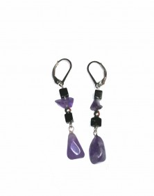 Purple - Amethyst Argentium Silver Earrings, Earrings