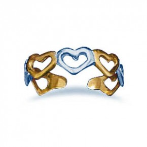 Sterling Silver and 14 Karat Gold Plated Heart Toe Ring