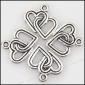 Double Heart Pewter Charms