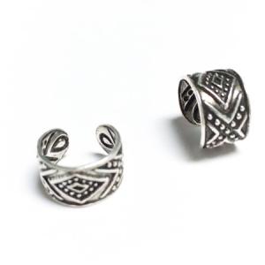 Diamond Design Silver Oxidized Ear Cuffs